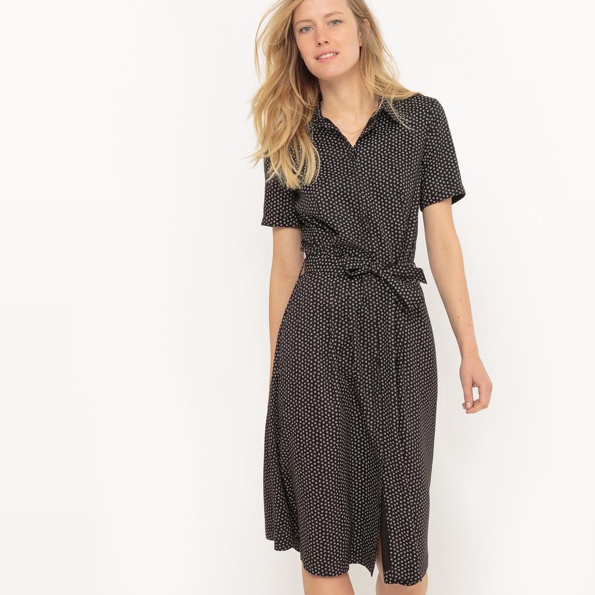 Платье-рубашка с принтом в горошек