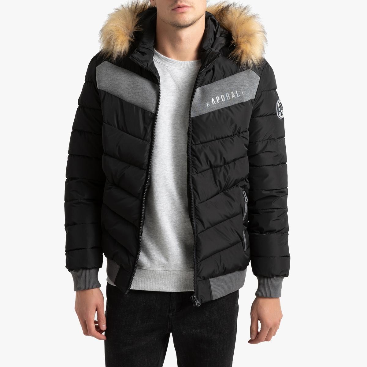 Куртка La Redoute Стеганая на молнии с капюшоном Geru S черный цены