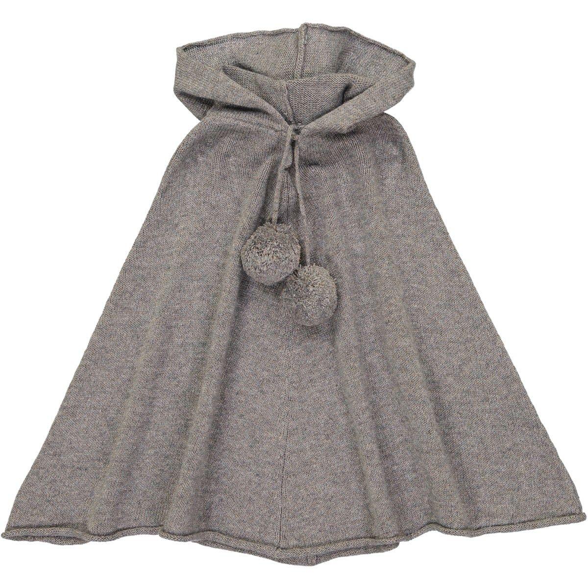 Poncho à capuche enfant en laine et cachemire