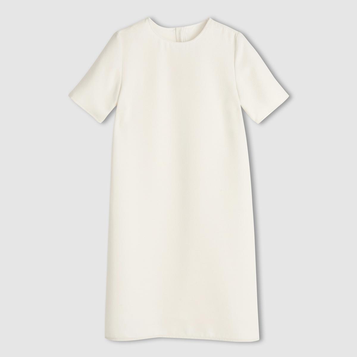 Платье с короткими рукавамиПлатье с короткими рукавами .Изящный прямой покрой, комфортный при носке . Небольшой круглый вырез . Застежка на молнию сзади. . 100% полиэстера с рельефным эффектом . Подкладка 100% полиэстера только для цвета слоновой кости  . Длина 92 см .<br><br>Цвет: слоновая кость<br>Размер: 42 (FR) - 48 (RUS).46 (FR) - 52 (RUS).44 (FR) - 50 (RUS)
