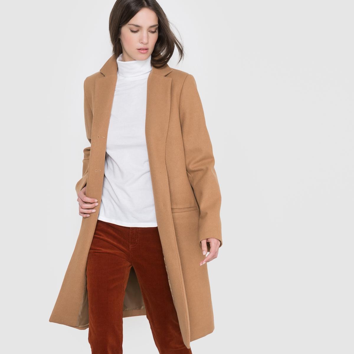 Пальто длинное, 60% шерстиДлинное пальто с английским воротником. 2 накладных кармана по бокам. Застежка на пуговицы.              Длина 98,5 см.                                          Состав и описание            Материал: 60%  шерсти, 40% полиэстера.           Подкладка: 100% полиэстера.              Марка:                                     R essentiel.                                   Уход                                                                        Стирка: Сухая чистка.<br><br>Цвет: синий морской,темно-бежевый<br>Размер: 44 (FR) - 50 (RUS).46 (FR) - 52 (RUS).42 (FR) - 48 (RUS).48 (FR) - 54 (RUS).38 (FR) - 44 (RUS)