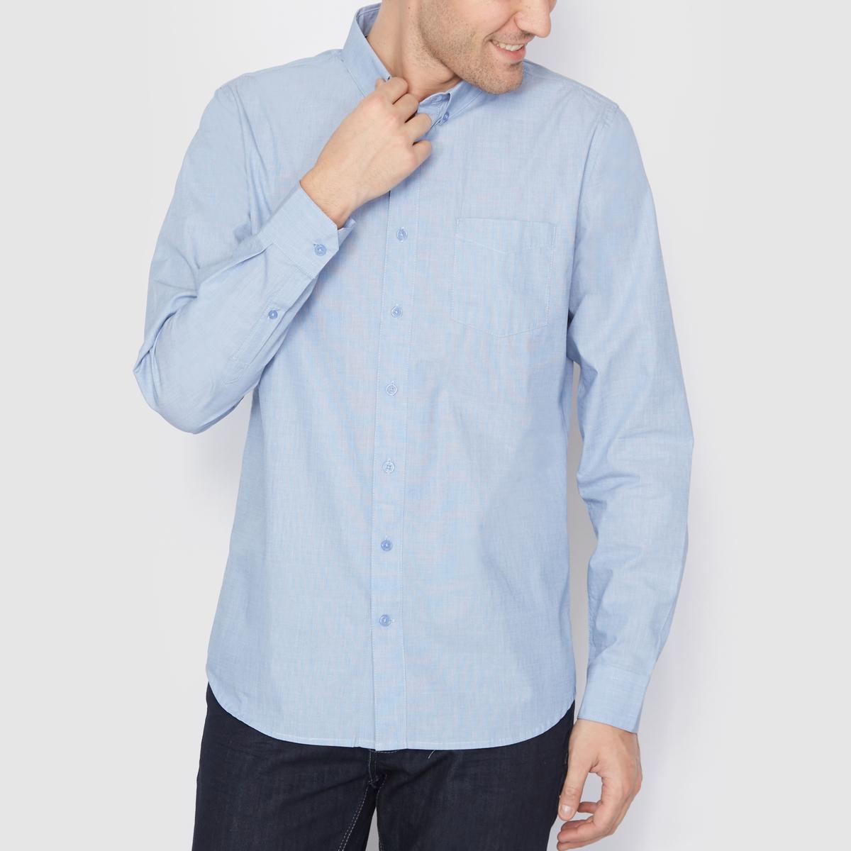 Рубашка прямого покроя с длинными рукавами на пуговицахРубашка с длинными рукавами. Прямой покрой, уголки воротника на пуговицах. Нагрудный карман. Закругленный низ. Длина 77,5 см. Рубашка из 100% хлопка<br><br>Цвет: голубой бирюзовый,голубой,темно-синий<br>Размер: 37/38