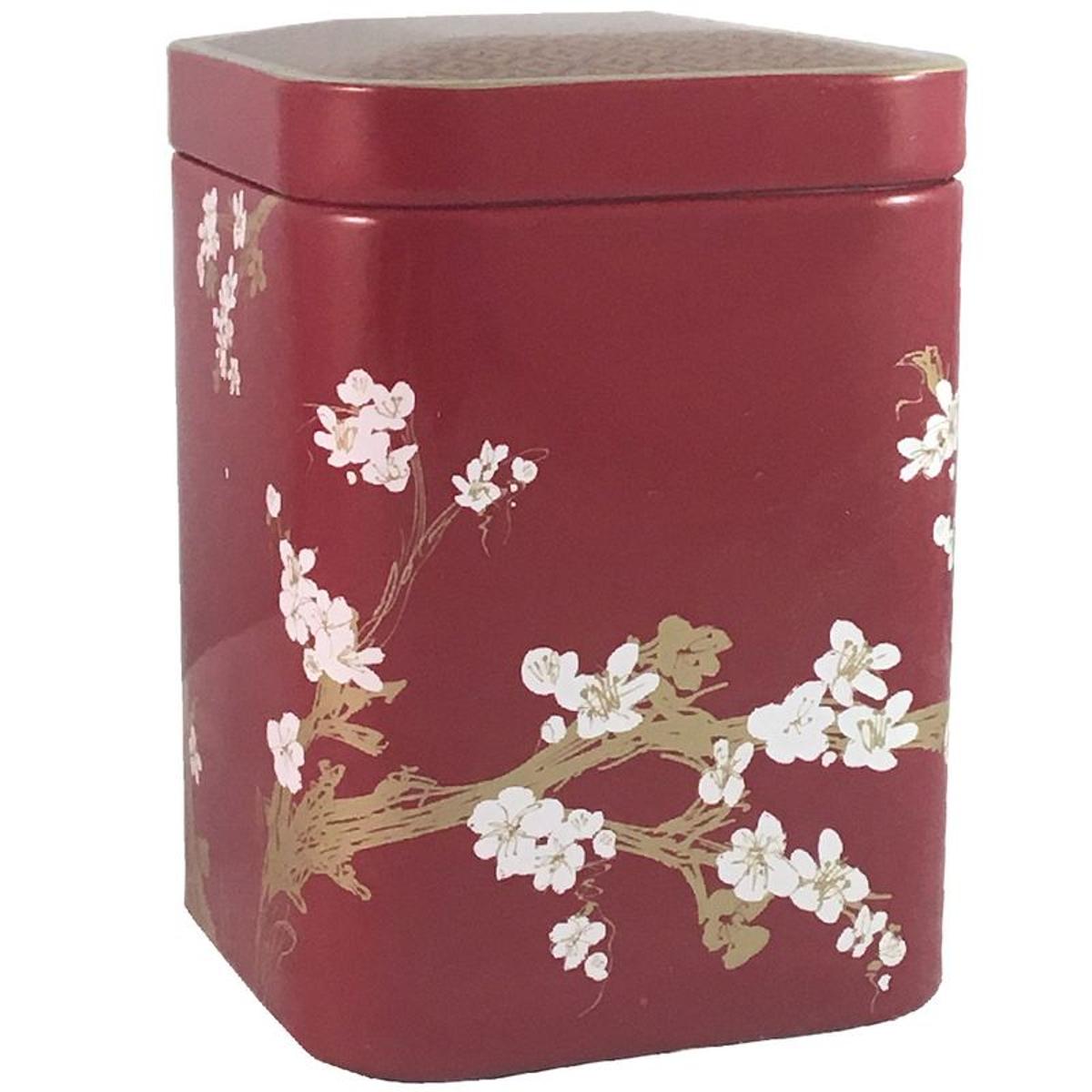 Petite boite Cerisier métallique pour le thé Contenance 50 gr