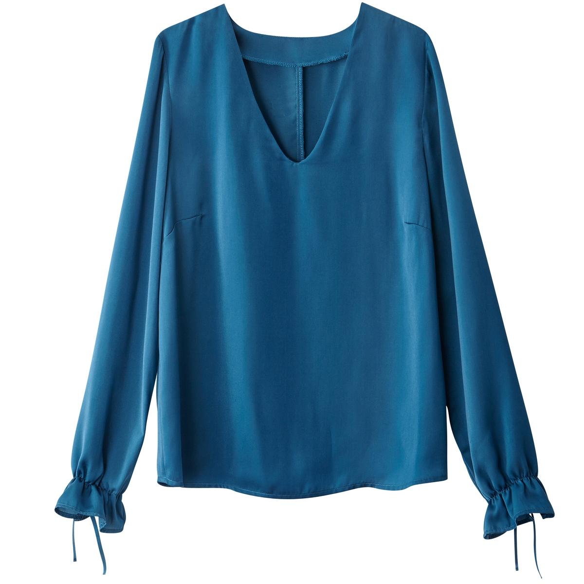 Блузка с V-образным вырезом, манжеты с завязками