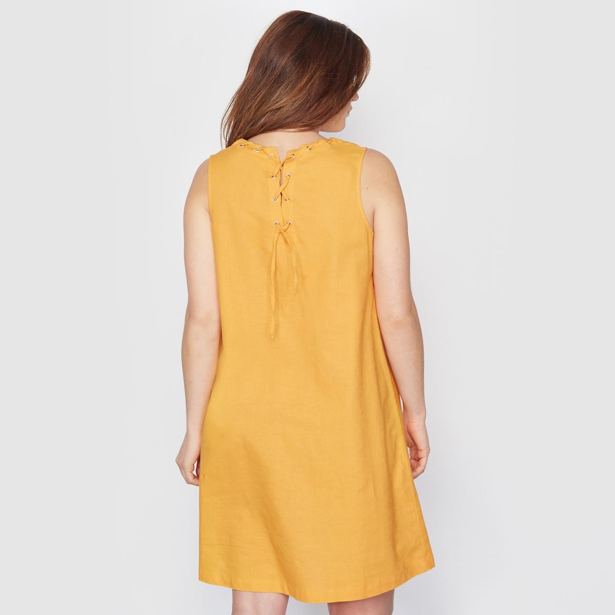 Платье, лен/хлопокПлатье. Модный штрих - интересная шнуровка на воротнике и открытый вырез на спине. Без рукавов. 55% льна, 45% хлопка. Без подкладки. Длина 90 см.<br><br>Цвет: желтый<br>Размер: 44 (FR) - 50 (RUS)