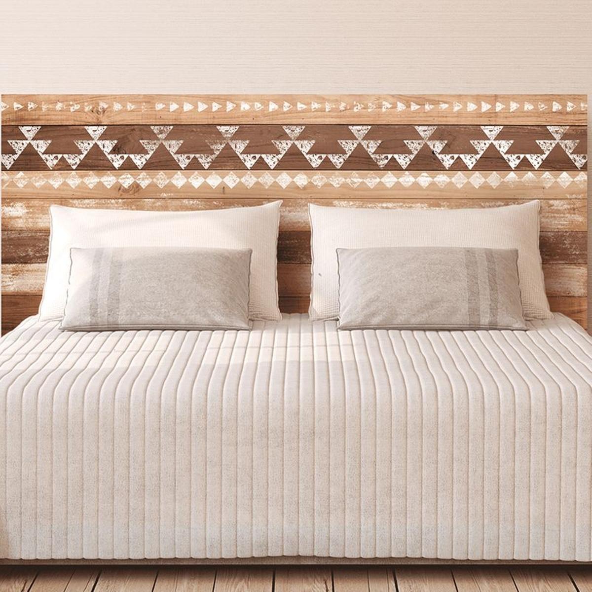 Autocollant mural tête de lit planches de bois - Ethnic