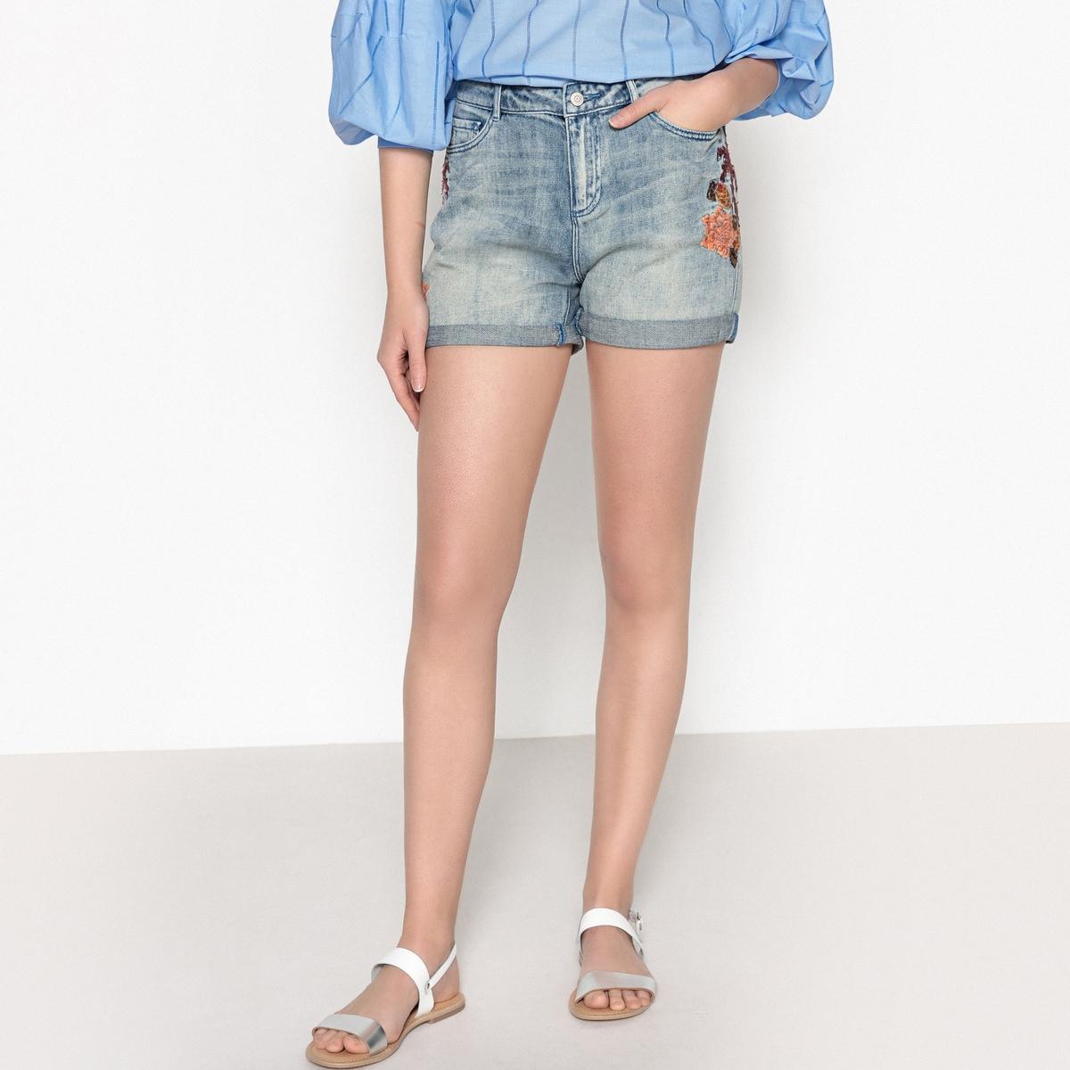 Шорты джинсовые короткие с вышивкой