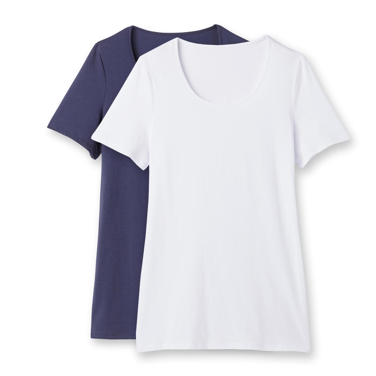 Футболка с короткими рукавамиКомплект из 2 футболок. Свободный круглый вырез. Короткие рукава. Футболка трикотажная, 100% хлопка. Длина 75 см.<br><br>Цвет: белый/ темно-синий,серый меланж + черный<br>Размер: 42/44 (FR) - 48/50 (RUS).46/48 (FR) - 52/54 (RUS)