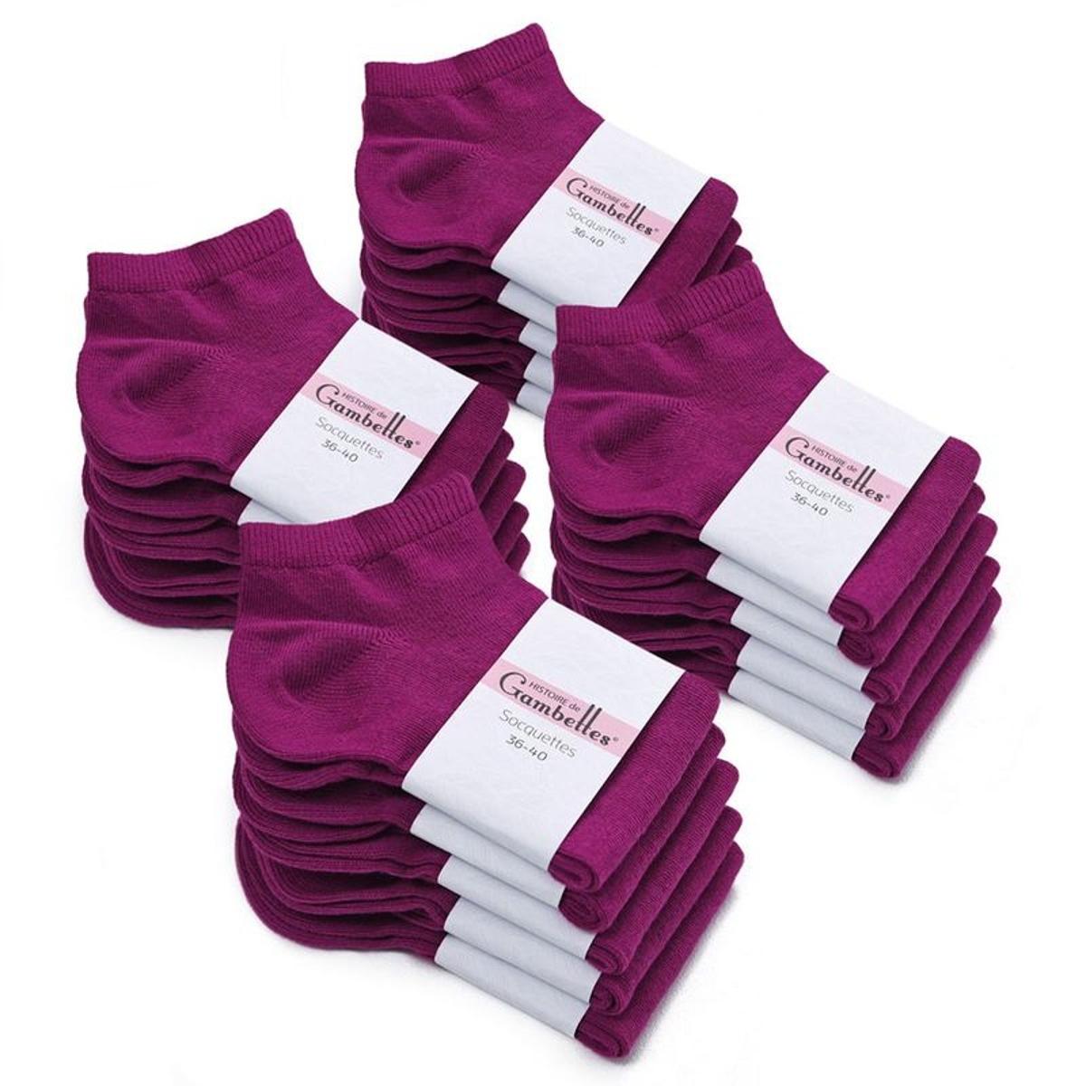 Socquettes Femme coton Prune (Lot de 20) - Fabriqué en europe