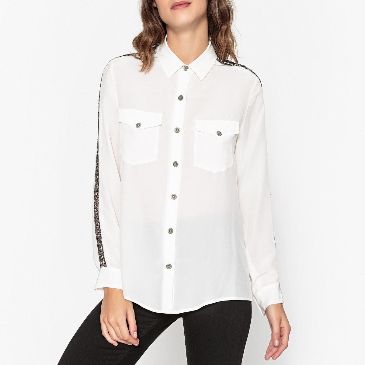 Рубашка с декоративной тесьмой на рукавах