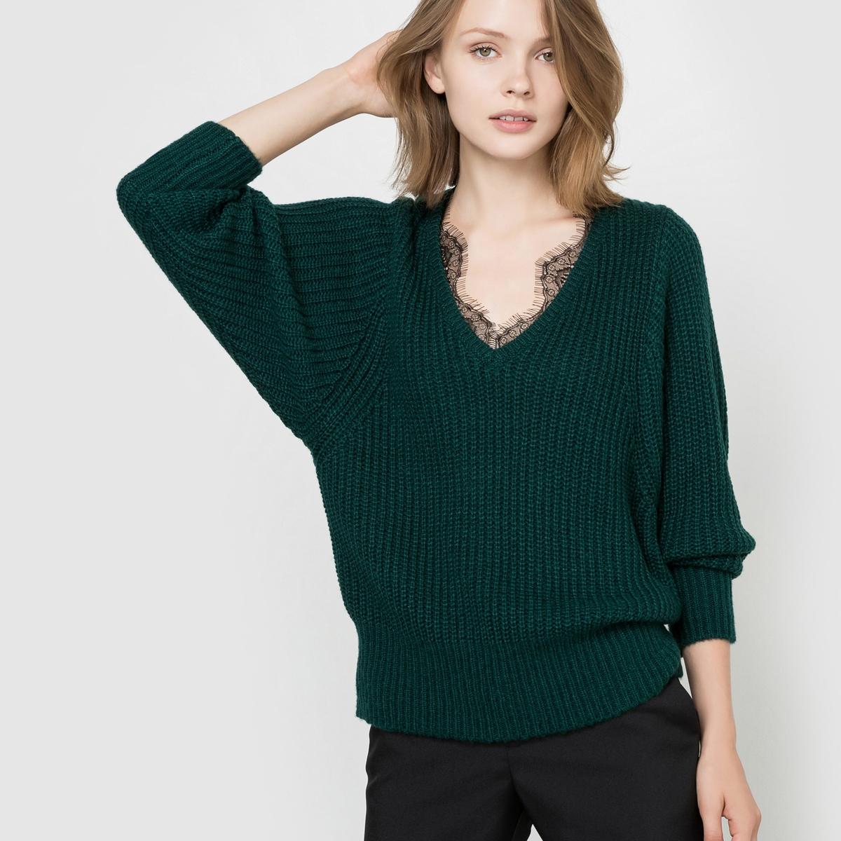 Пуловер с воротником из кружева