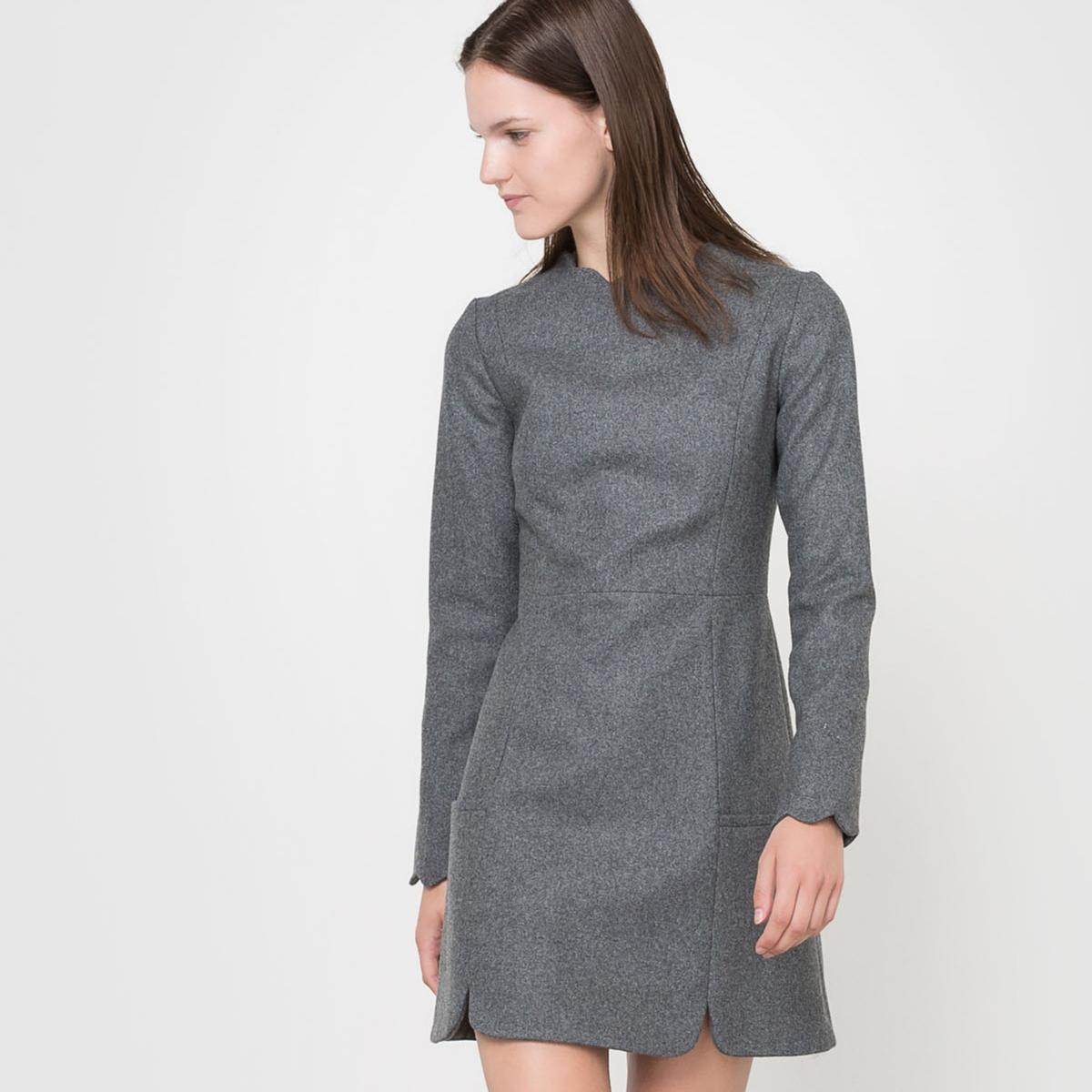 Платье с длинными рукавамиСостав и описаниеМатериал: 80% шерсти, 20% полиамида.Подкладка: 100% ацетатного волокна.Длина: 91 см.Марка: CORALIE MARABELLE  УходРекомендована сухая чистка - Не отбеливать - Гладить на низкой температуре -Машинная сушка запрещена.<br><br>Цвет: красный/ кирпичный<br>Размер: 40 (FR) - 46 (RUS)