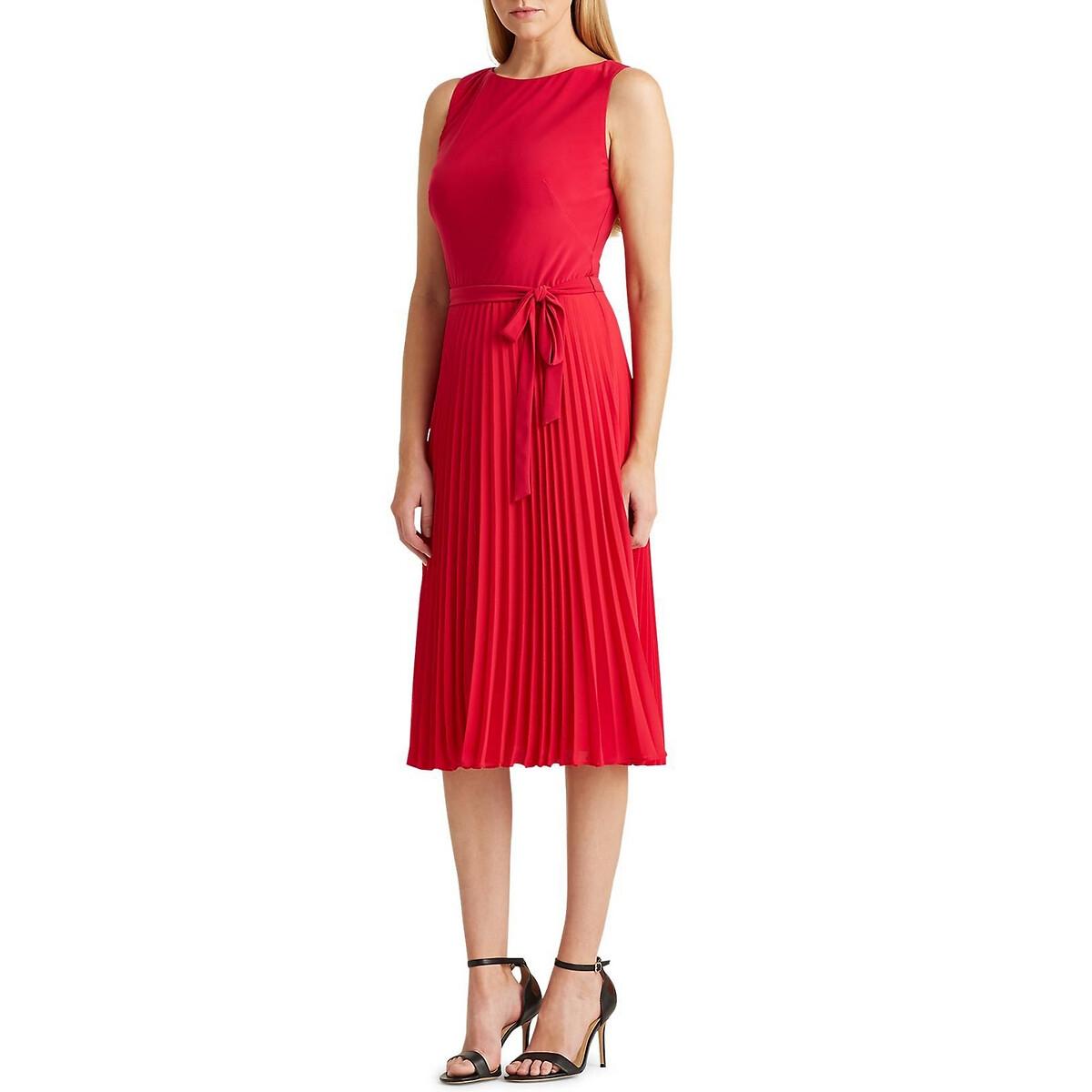 Платье La Redoute С плиссировкой без рукавов L красный цена 2017