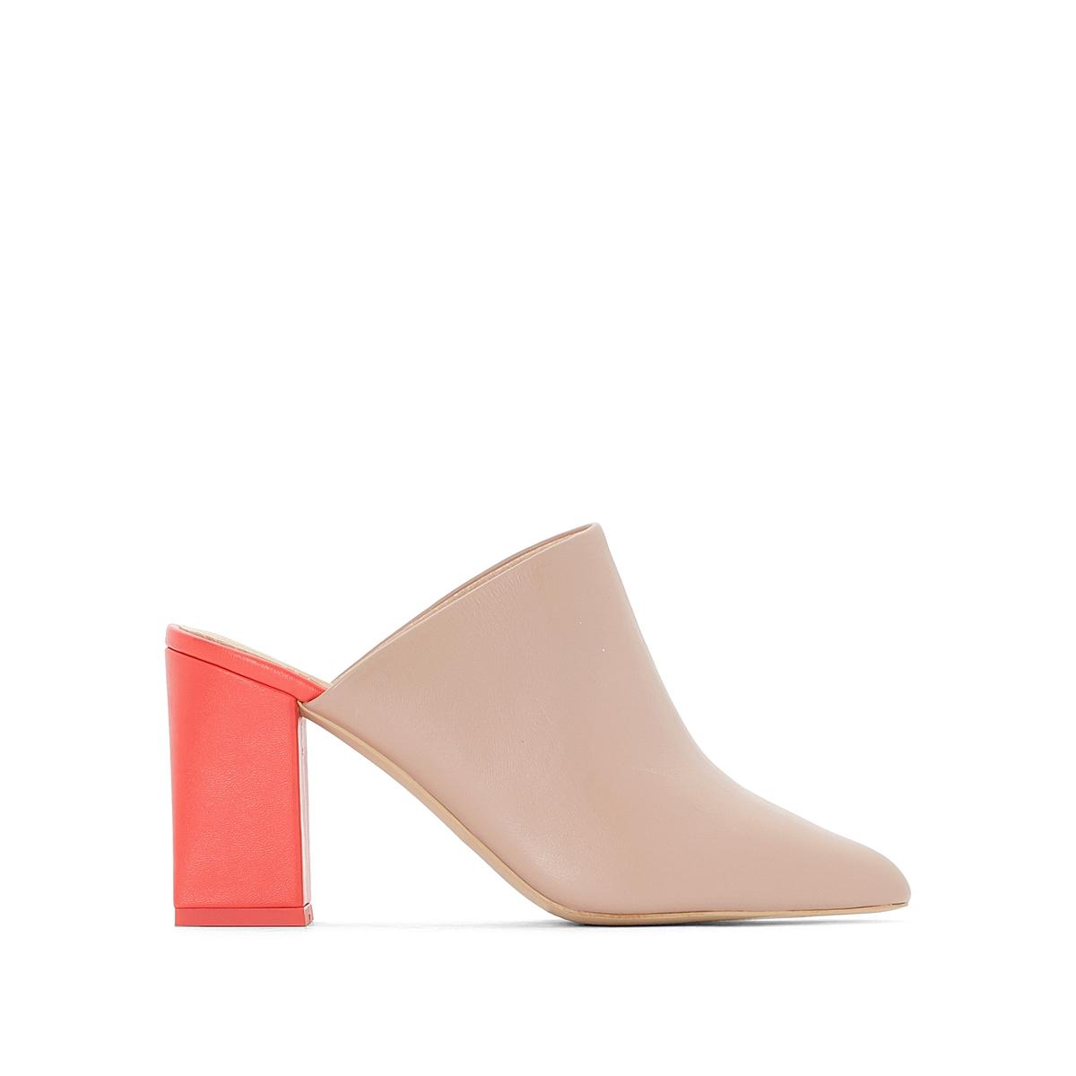 Туфли без задника кожаные на высоком каблуке туфли napoleoni туфли на среднем каблуке