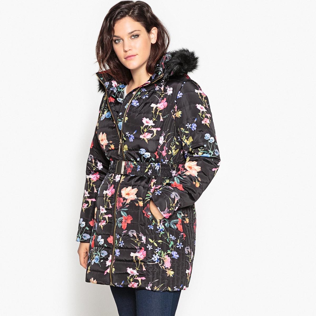 Куртка с капюшоном и цветочным рисункомОписание:Очень модная куртка с цветочным рисунком. Длинная куртка с цветочным рисунком и поясом обеспечит надежную защиту.Детали•  Длина : удлиненная модель •  Воротник-стойка •  Рисунок-принт •  Застежка на молнию •  С капюшоном Состав и уход •  100% полиэстер •  Подкладка : 100% полиэстер • Не стирать •  Не гладить/ не отбеливать •  Не использовать барабанную сушку  •  Деликатная сухая чисткаТовар из коллекции больших размеров •  Модный цветочный рисунок. •  Съемный капюшон с опушкой из искусственного меха. •  2 кармана на молниях. •  Длина : 92,8 см<br><br>Цвет: рисунок цветочный/фон черный<br>Размер: 56 (FR) - 62 (RUS)