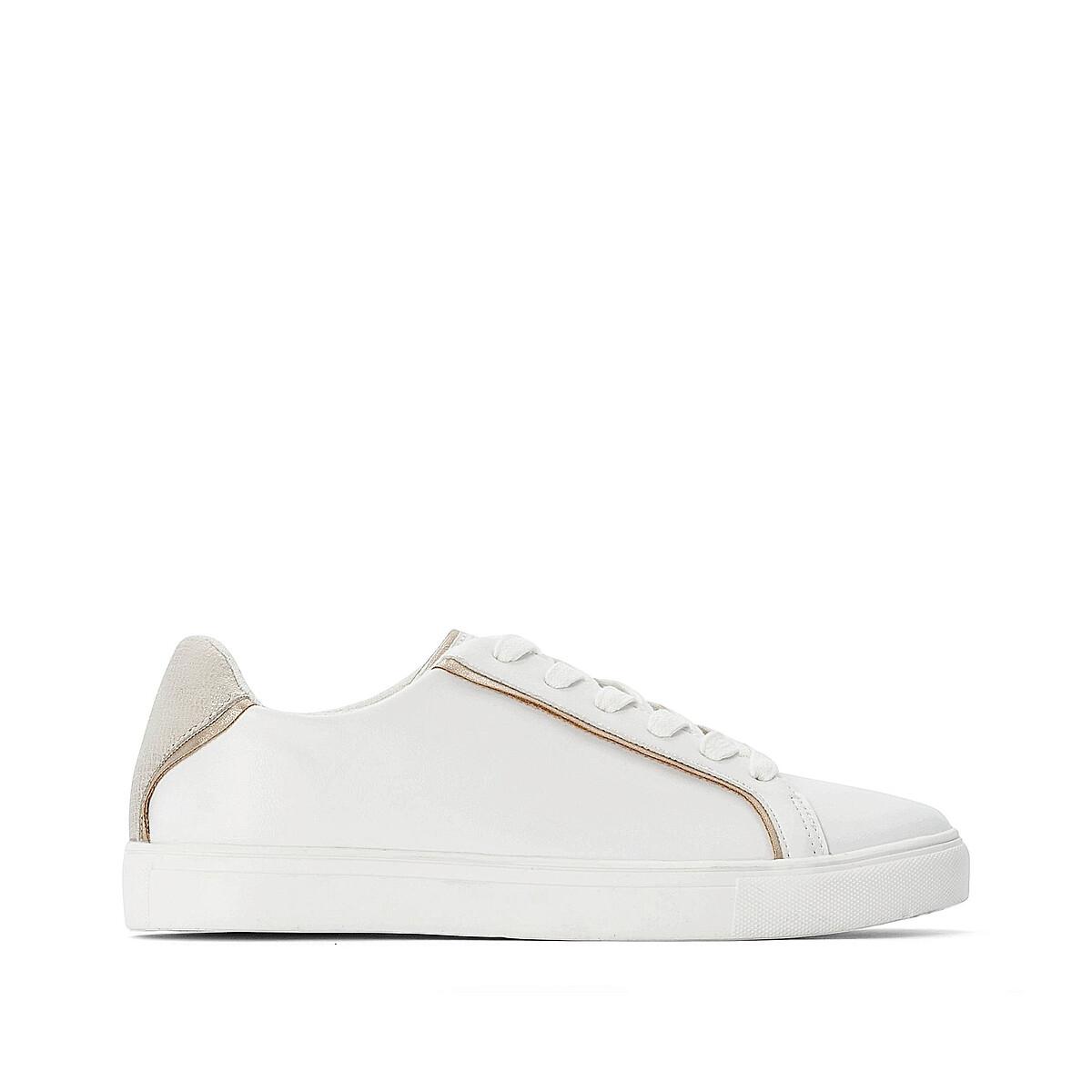 Кроссовки LaRedoute — На шнуровке с золотыми вставками 38 белый