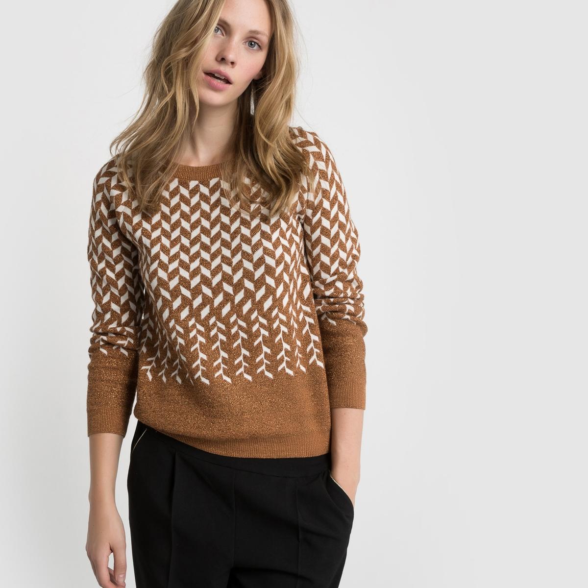 Пуловер из жаккарда с волокнами с металлическим блеском и круглым вырезом