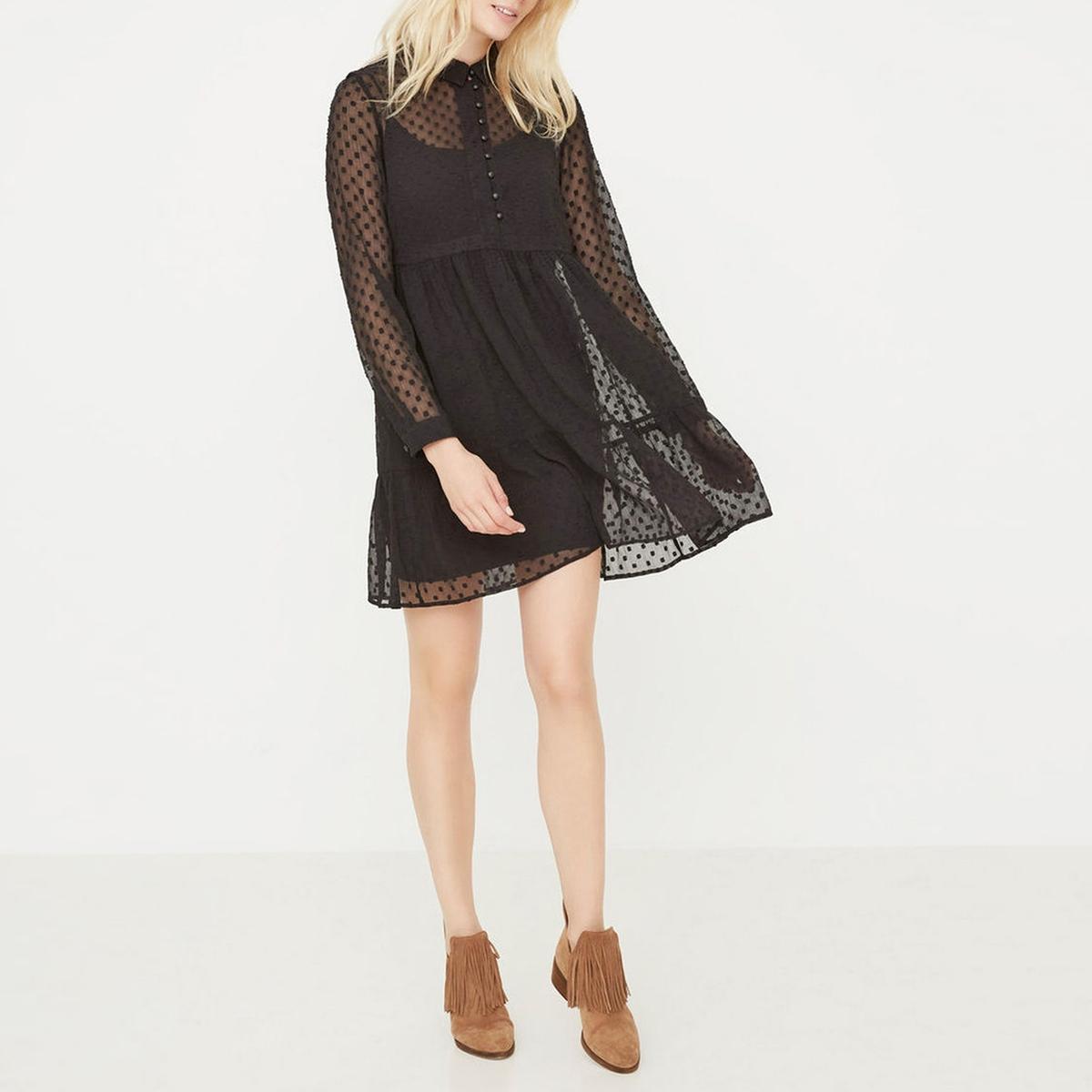 Платье VMLUCYDOB LS SHORTDRESSСостав и описание :Материал : 100% полиэстерМарка : ONLY.<br><br>Цвет: черный<br>Размер: S