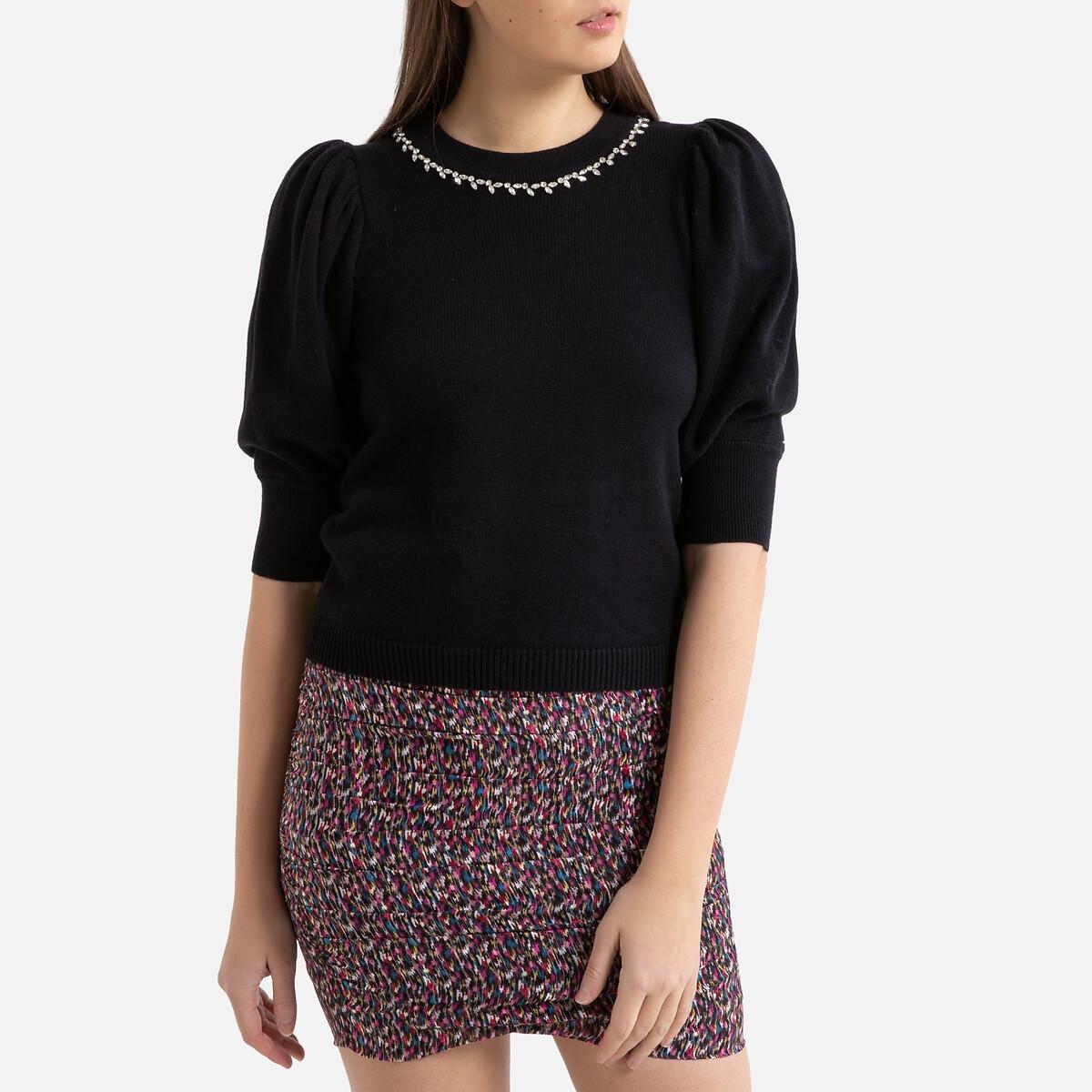 Пуловер La Redoute С круглым вырезом из тонкого трикотажа NEA 0(XS) черный
