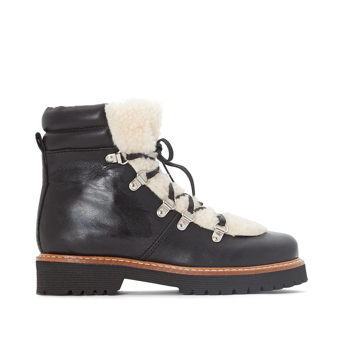 Ботинки кожаные в горном стилеДетали  •  Высота голенища : 13 см для размера 37 •  Высота каблука : 1 см. •  Застежка : шнуровка •  Круглый мысокСостав и уход  •  Верх 100% яловичная кожа •  Подкладка 100% кожа •  Стелька 100% кожа •  Подошва 100% эластомер<br><br>Цвет: черный