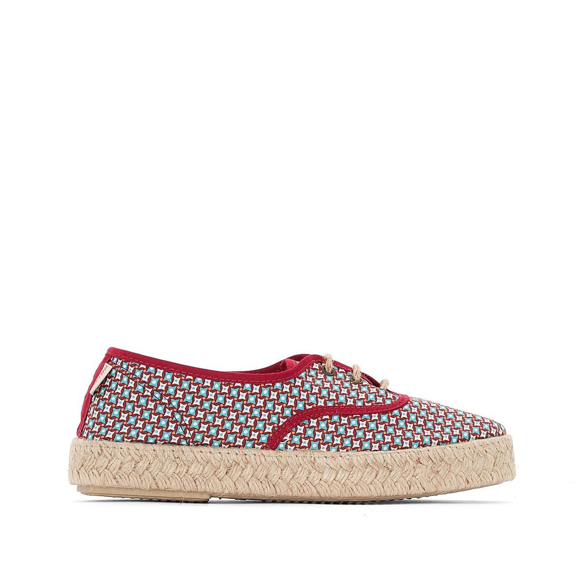 Туфли VP MixВерх: полотно и текстиль.Стелька: шнур.Подошва: каучук.Высота каблука: 2 см.Форма каблука: плоский каблук.Мысок: закругленный.Застежка: без застежки.<br><br>Цвет: бордовый/рисунок