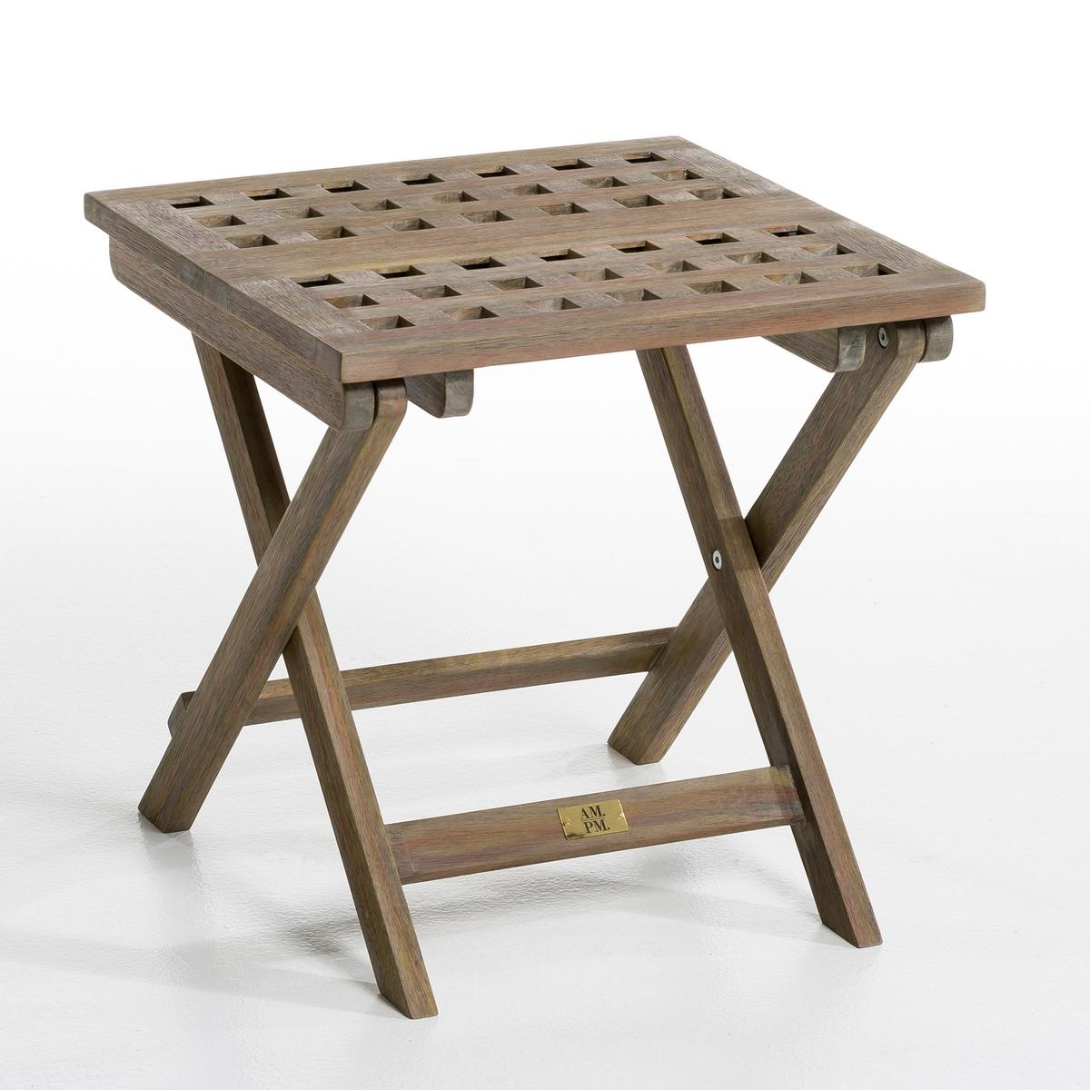 Столик садовый складной, MeltemДополнительный складной садовый столик, выполнен из состаренной древесины акации, покрытие имитирует вид необработанной древесины.             Акация относится к тем видам древесных пород, которые устойчивы к влаге и УФ-излучению, а потому идеально подходят для использования вне помещений.        Характеристики:- Столешница из древесины с решётчатым рисунком.                Размеры:- Д.40 x В.40 x Г.40 см.      Размеры и вес коробки:- Д.54 x В.8 x Г.43 см, 3,5 кг.<br><br>Цвет: состаренная акация,черный