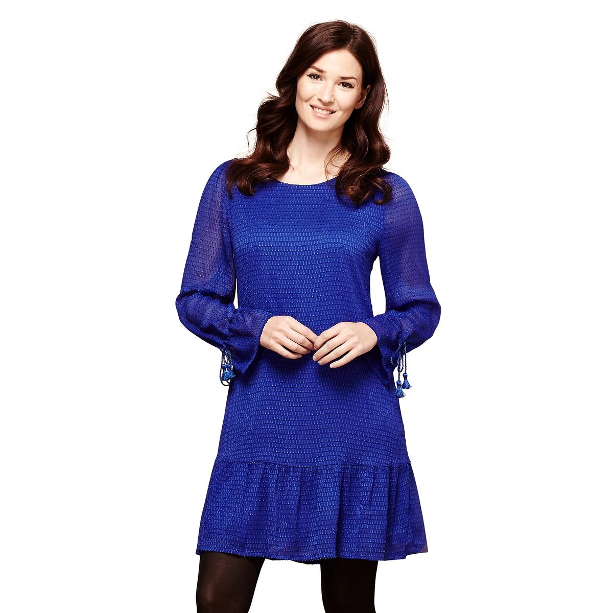 Платье короткое с длинными рукавамиОписание •  Форма : расклешенная •  короткое  •  Длинные рукава     •  Круглый вырезСостав и уход •  100% полиэстер  •  Следуйте рекомендациям по уходу, указанным на этикетке изделия<br><br>Цвет: синий