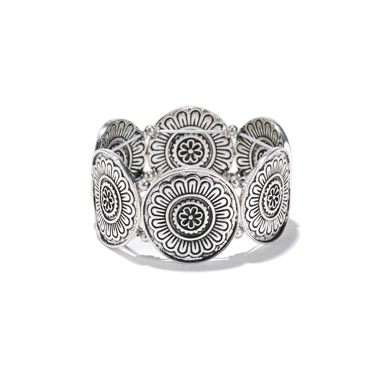 Braceletto con mezza luna in metallo a rilievo