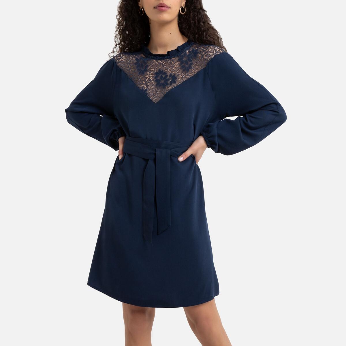 Платье La Redoute Прямое с кружевным воротником 38 (FR) - 44 (RUS) синий брюки чино la redoute la redoute 38 fr 44 rus синий