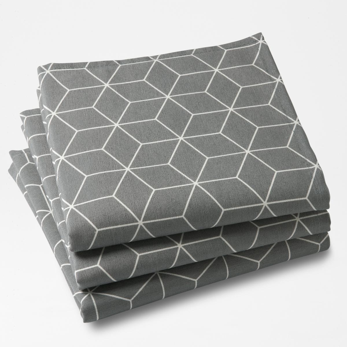 Комплект из 3 салфеток DIAMOND La Redoute La Redoute 45 x 45 см серый комплект из салфеток из la redoute льна и хлопка border 45 x 45 см бежевый