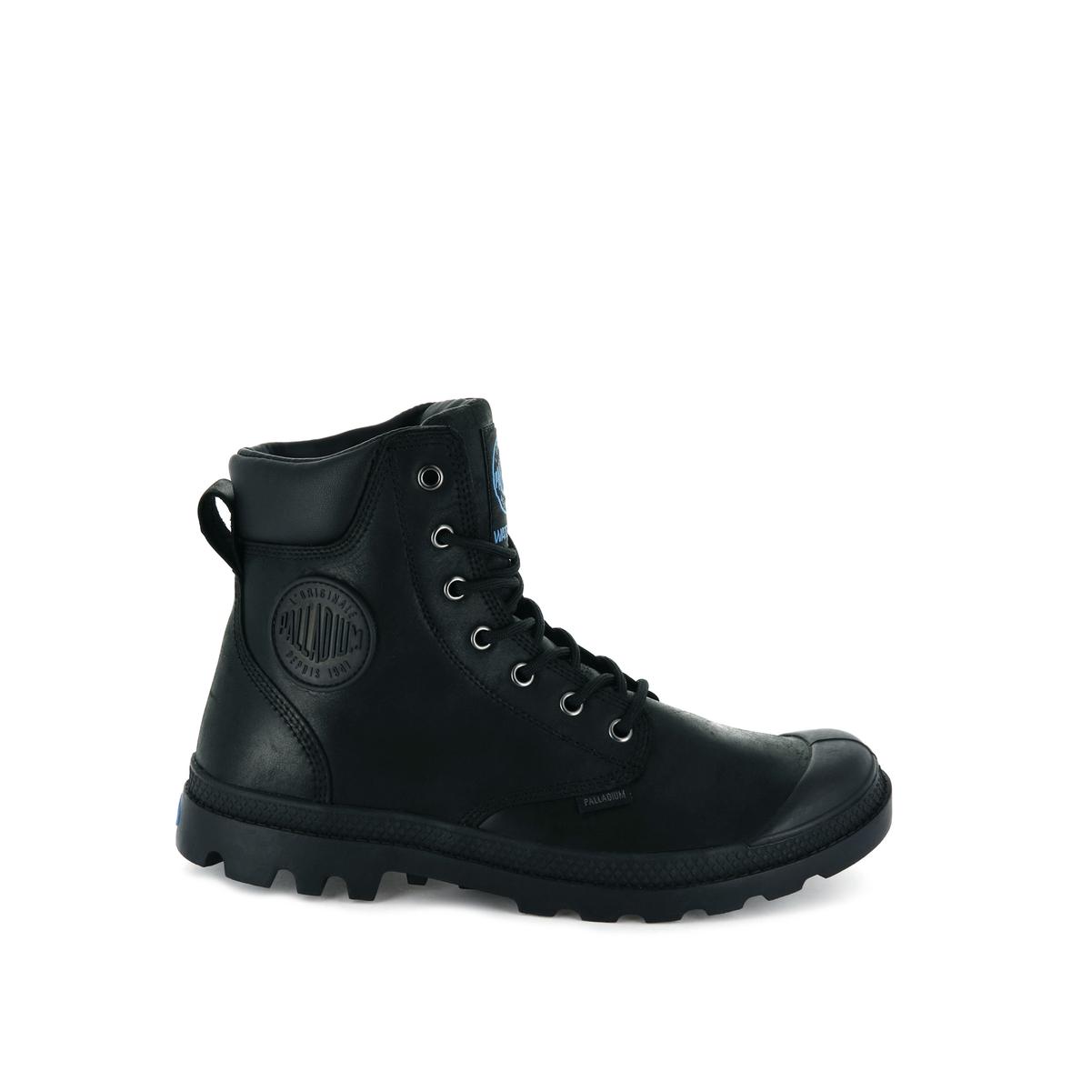 цена Ботинки La Redoute Кожаные Pampa Cuff WP LUX 36 черный онлайн в 2017 году