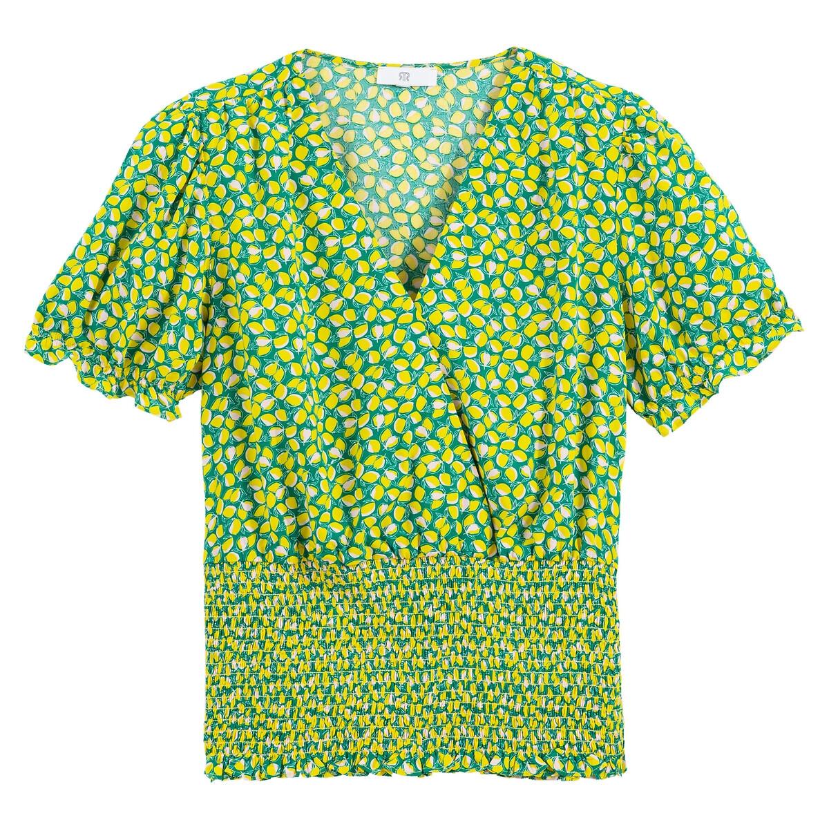 Blusa con efecto cruzado estampada, bajo con smocks