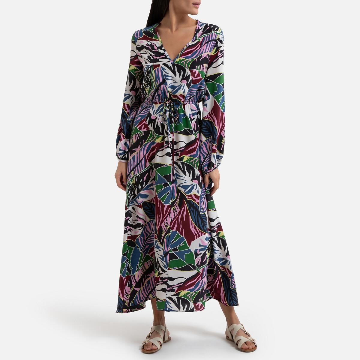 Платье La Redoute С принтом из шелка с длинными рукавами ARTISTE S разноцветный платье la redoute длинное amandine s разноцветный