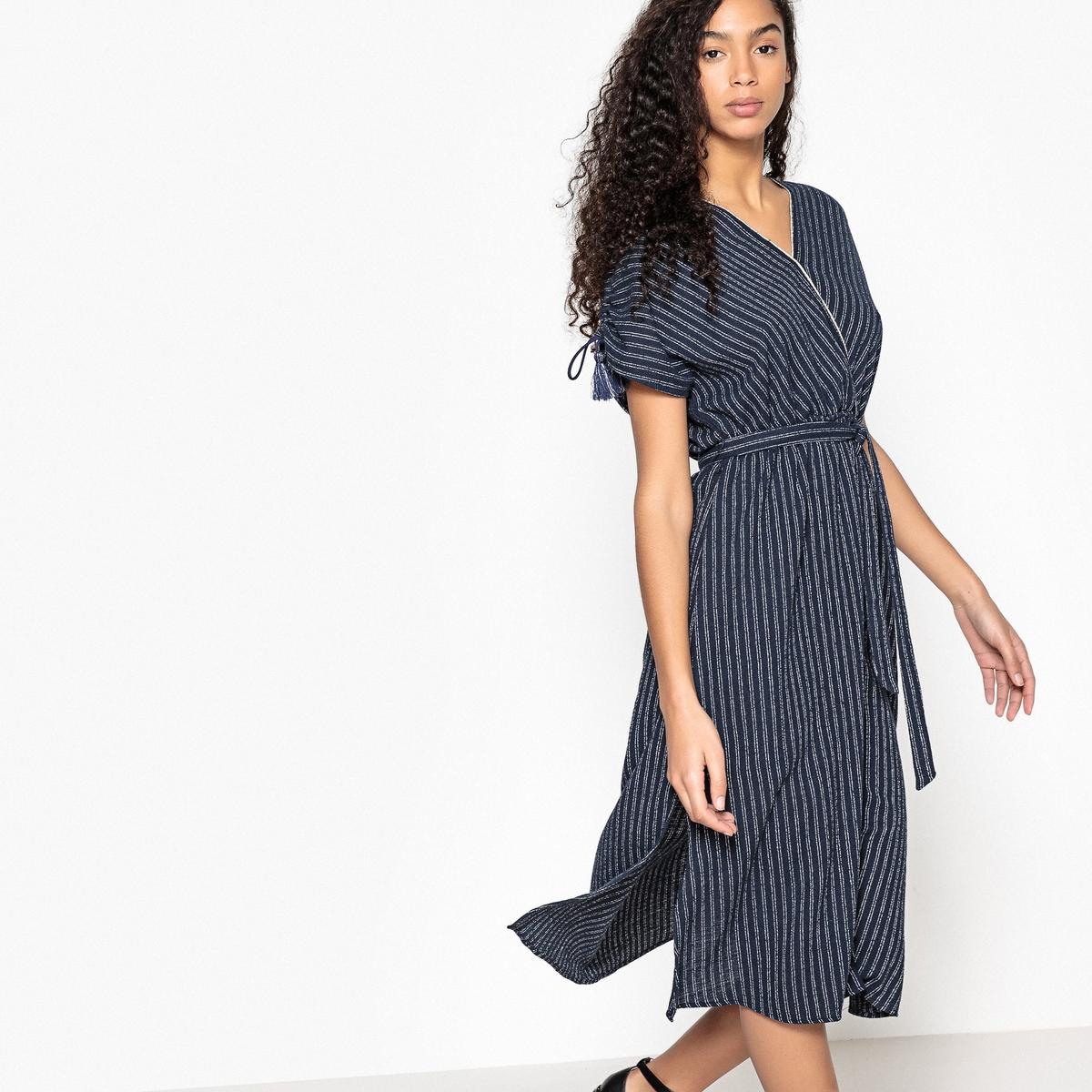 Платье-миди расклешенное в полоску с короткими рукавами