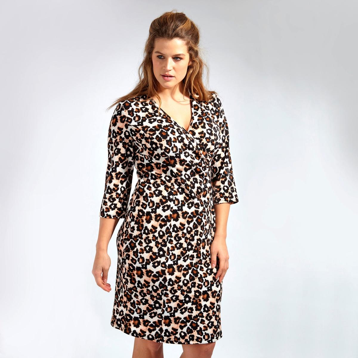 ПлатьеПлатье LOVEDROBE. Платье с рукавами 3/4 с красивым декольте . 100% полиэстер<br><br>Цвет: леопардовый рисунок