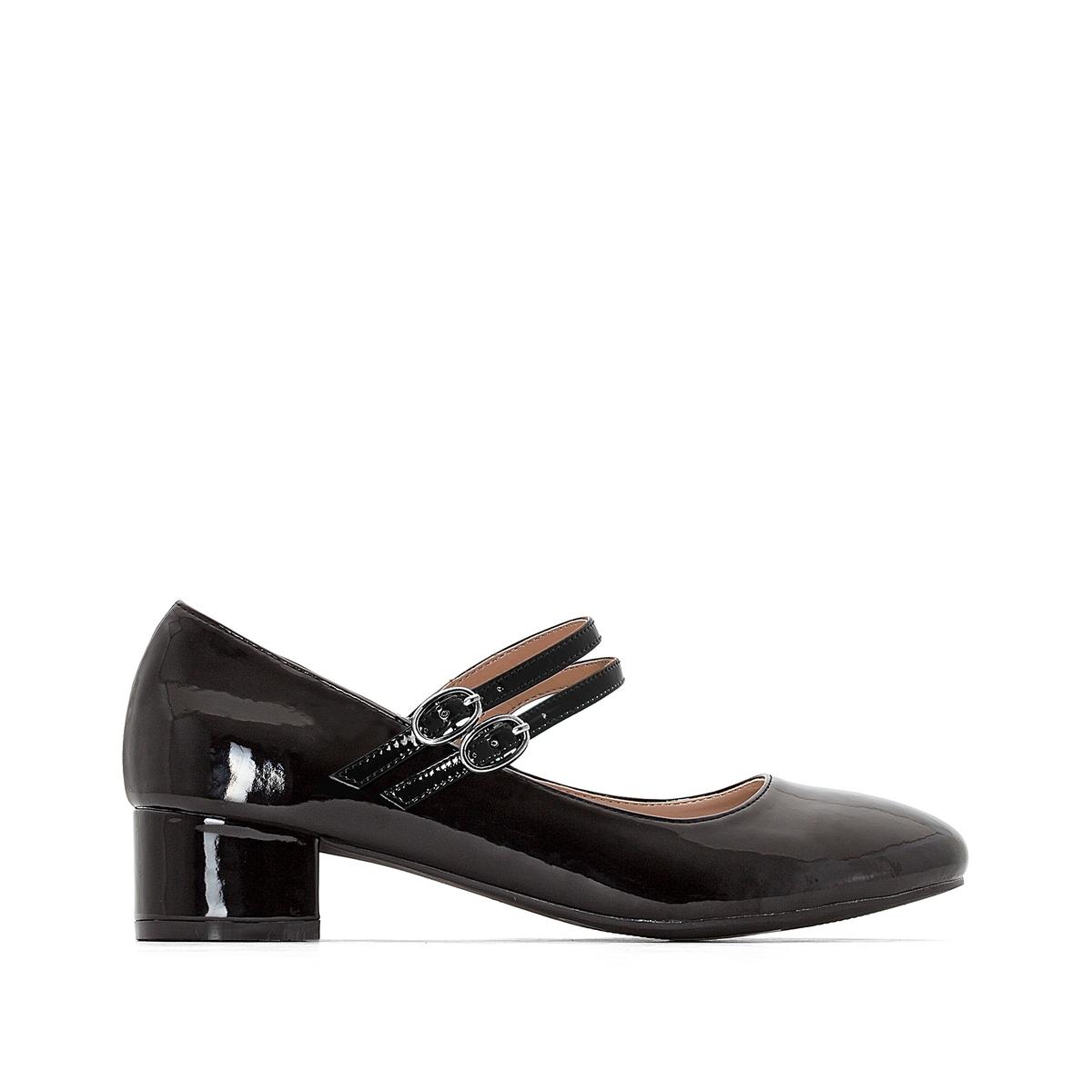 Gelakte ballerina's met 2 bandjes, brede voet, 38-45