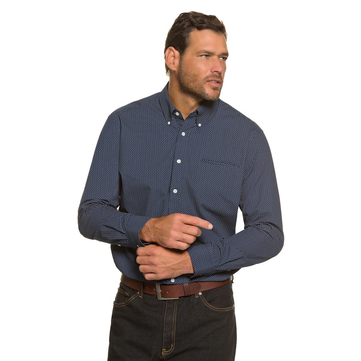 РубашкаРубашка с модным микро принтом и воротником с кончиками на пуговицах . Облегающий покрой позволяет носить рубашку в свободном стиле поверх брюк . Длина в зависимости от размера ок. 78-94 см.<br><br>Цвет: наб. рисунок<br>Размер: 6XL