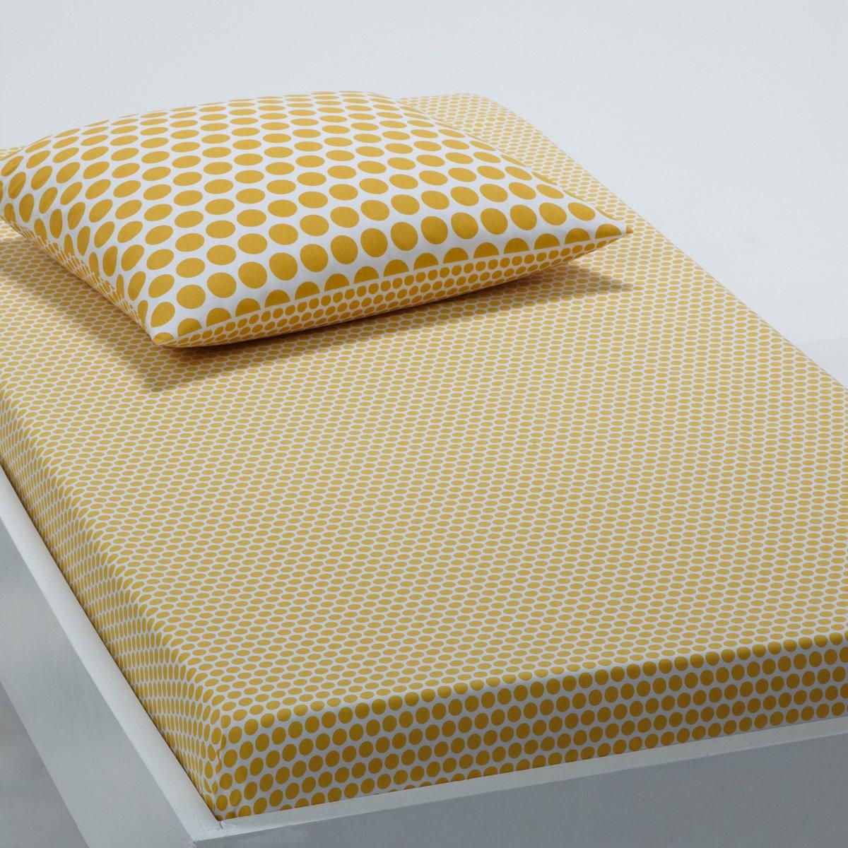 Натяжная простыня с рисунком в горошек CHAT CUTEРазмеры: 90 x 190 см: 1-сп.Цвет: белый/желтый.Цвет :желтый горошек на  белом фоне.Размеры: 90 x 190 см.<br><br>Цвет: белый/ желтый<br>Размер: 90 x 190  см
