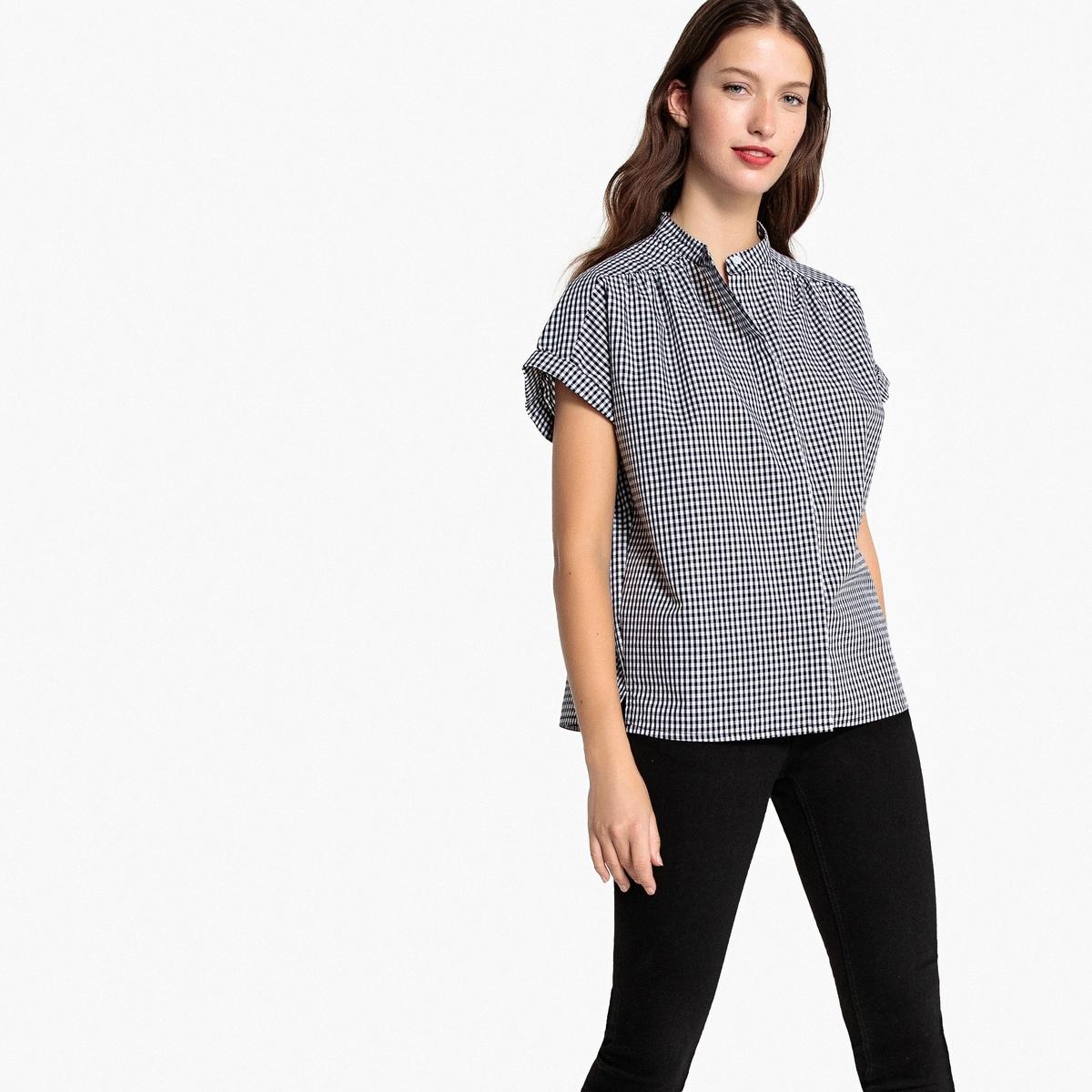 Camisa a cuadros de manga corta, 100% algodón