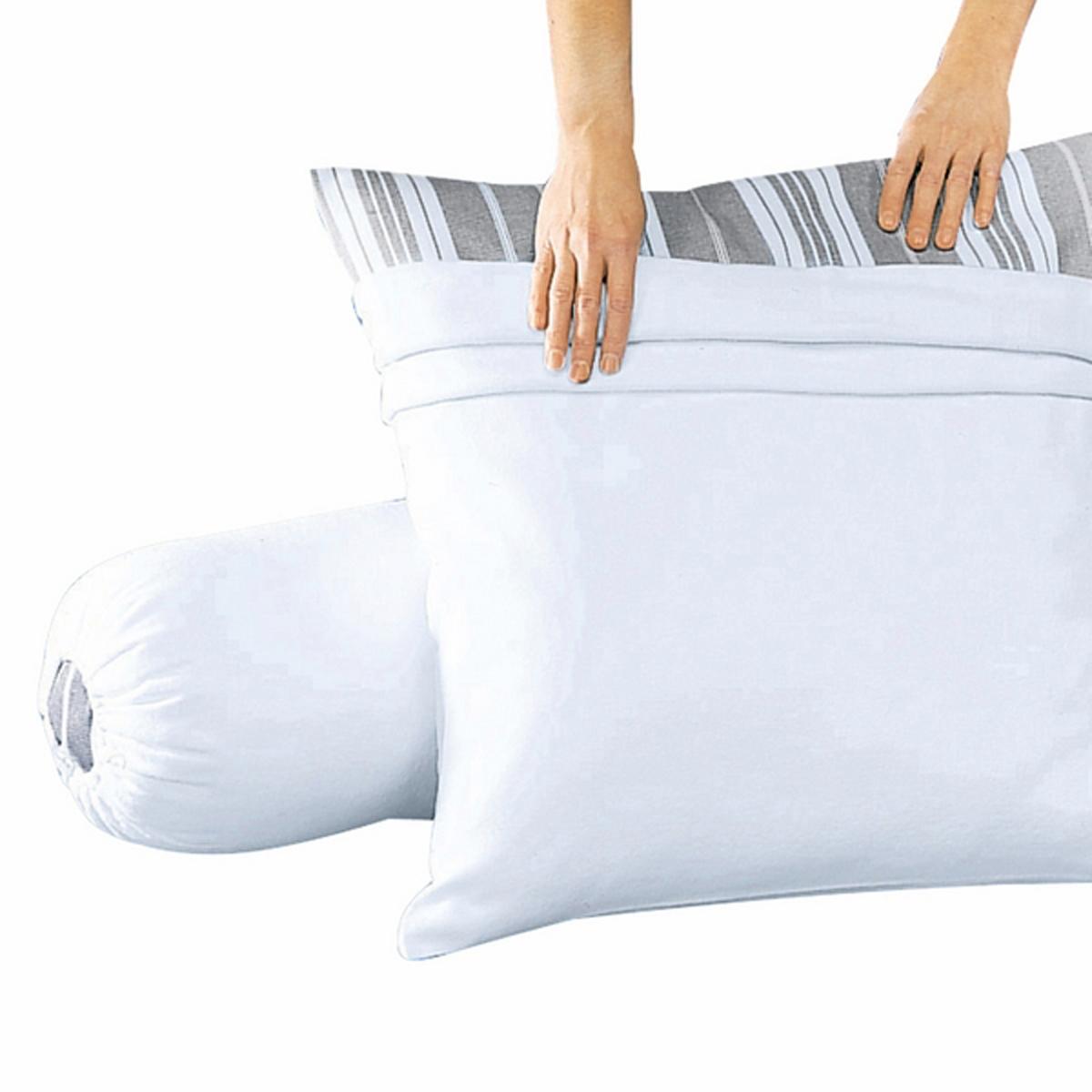 Чехол защитный для подушки из хлопкового мольтонаЗащитный чехол для подушки-валика из мольтона (прочесанного с обеих сторон) из 100% хлопка, очень комфортного и плотного (200 г/м?).Стирка при 95°С для идеальной чистоты, защита SANFOR (от усадки ткани).Размеры:90 x 75 см, 140 x 75 см, 160 x 75 см.Качество VALEUR S?RE.<br><br>Цвет: белый<br>Размер: длина: 160 см