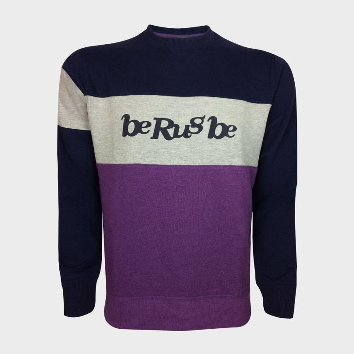 Sweat Molleton - Col Rond - Logo BRB - Berugbe - Navy/Prune - 3XL