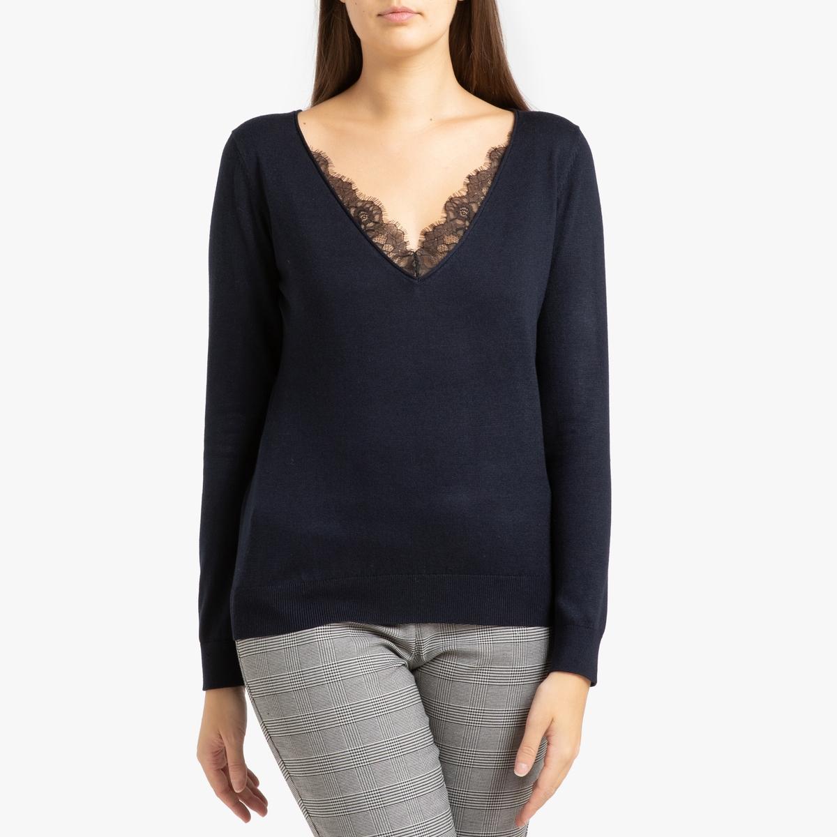 Пуловер La Redoute С v-образным вырезом и кружевом S синий комбинезон la redoute с брюками с v образным вырезом и отделкой кружевом l черный
