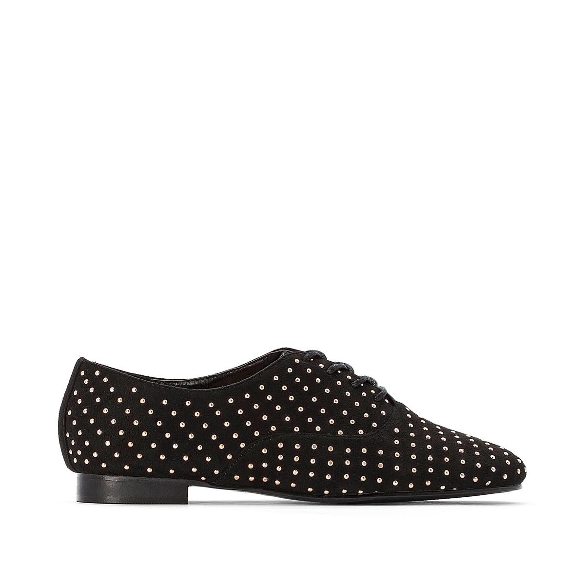 Ботинки-дерби La Redoute На шнуровке с заклепками золотистого цвета 38 черный