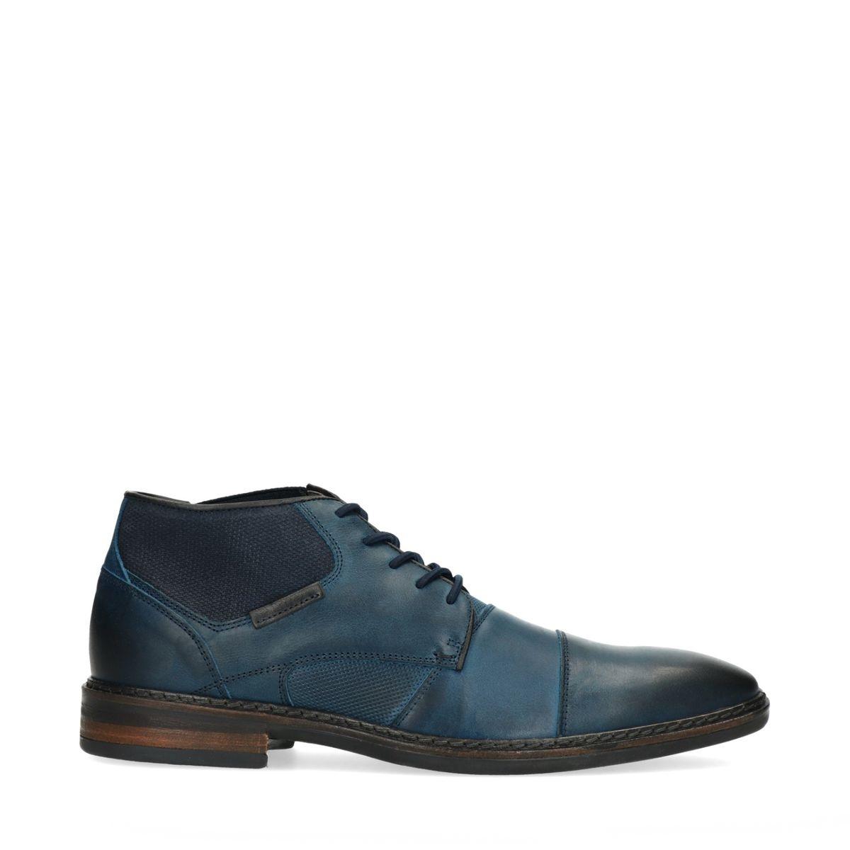 Chaussures à lacets en cuir avec élastique