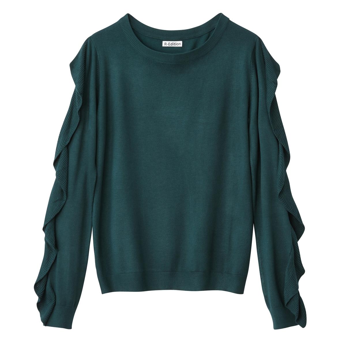 Пуловер с круглым вырезом и воланами