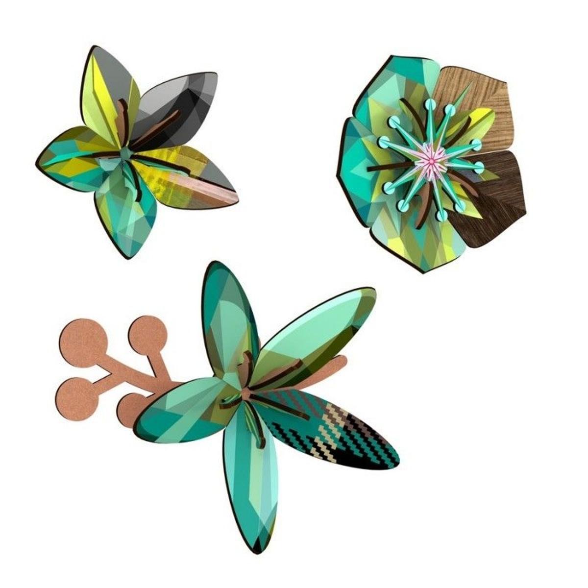Fleurs décoratives murales bois  Winter Garden (set de 3)