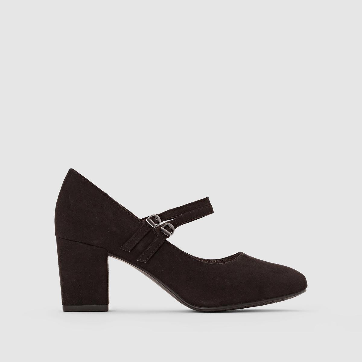 Туфли с ремешками 24416-27Подкладка : текстиль   Стелька : синтетика   Подошва : синтетика   Высота каблука : 6,5 см   Форма каблука : широкий   Мысок : закругленный   Застежка : ремешок/пряжка<br><br>Цвет: бордовый,черный<br>Размер: 40