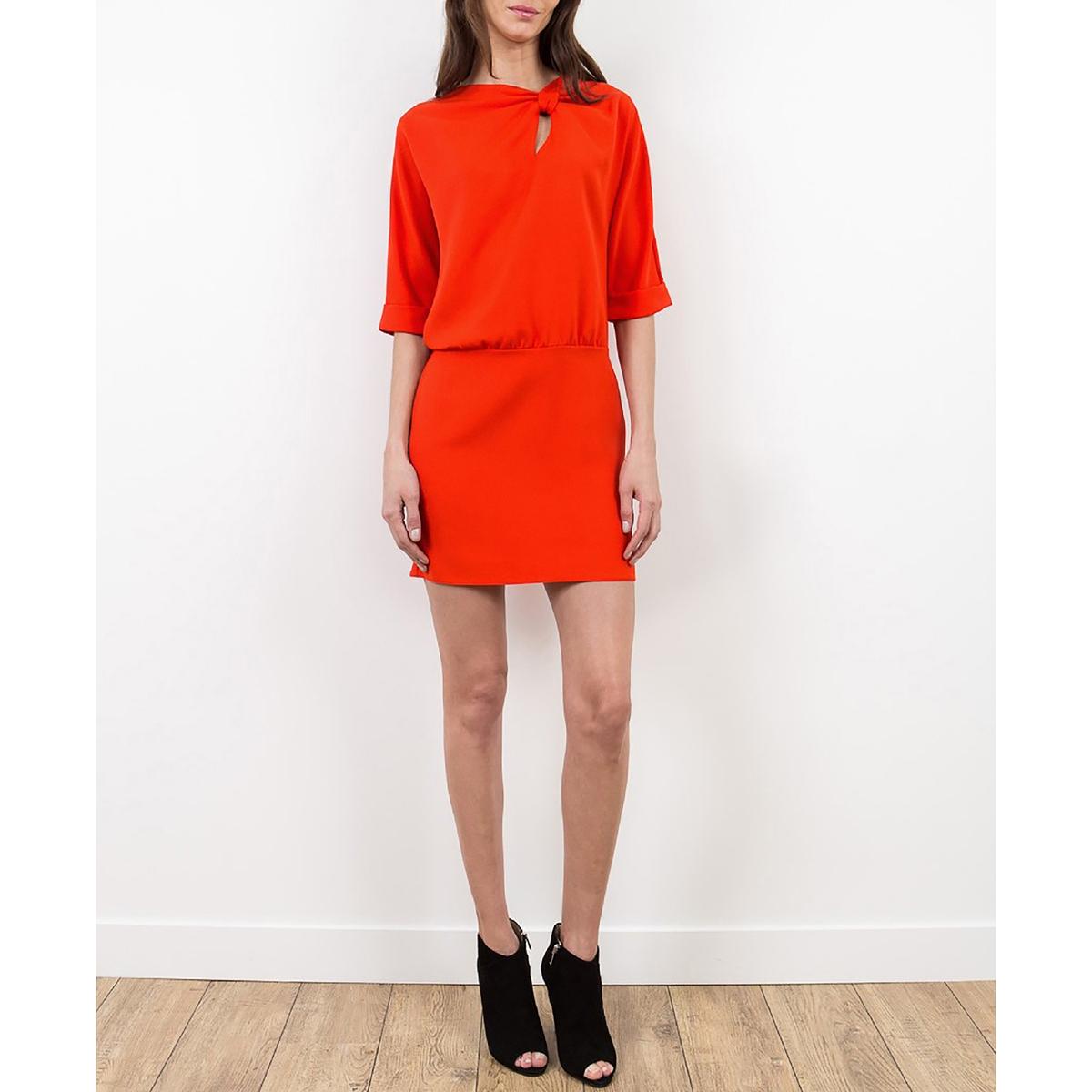 Платье с рукавами 3/4, и ремешком LENNY B, REPONSEСостав и описание :Материал : 100% полиэстераМарка : LENNY B<br><br>Цвет: коралловый,черный
