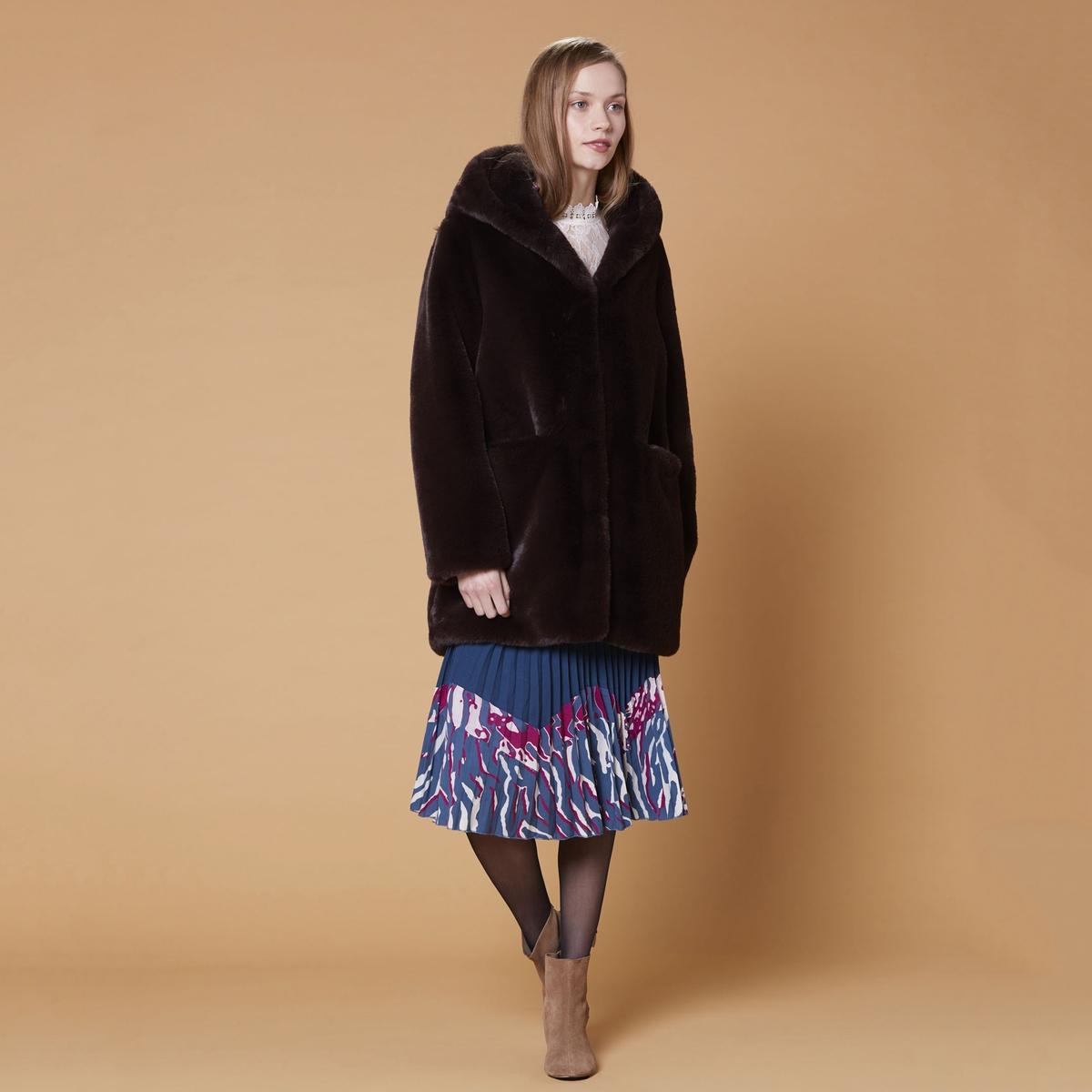 Пальто La Redoute Из меха с капюшоном Gabonback M каштановый цены