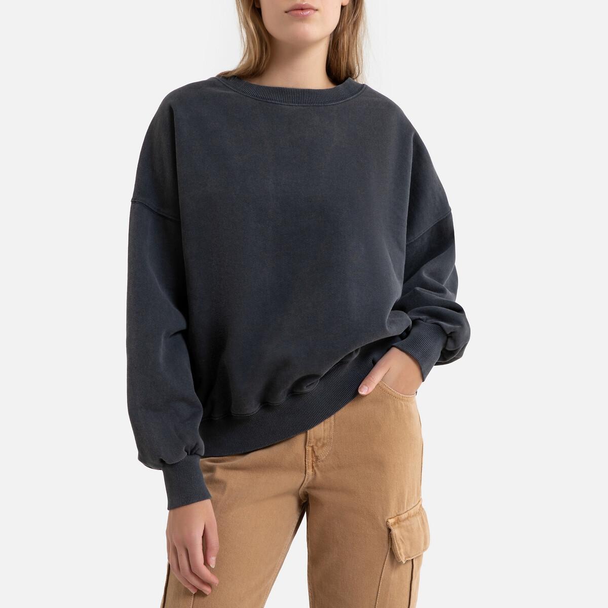Свитшот La Redoute С круглым вырезом WITITI S/M черный свитшот la redoute с круглым вырезом и вышивкой s черный